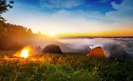 Tents and bonfire