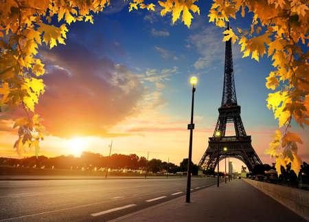 Autumn Paris at sunset