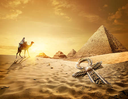 Pyramids and ankh cross