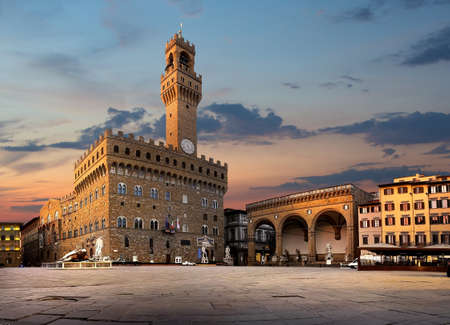 Square of Signoria in Florence at sunrise, Italy Stock Photo