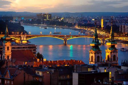 Panoramic view of Budapest in evening illumination, Hungary