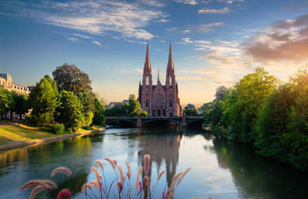 Reformed Church of St. Paul in Strasbourg at sunrise, France 版權商用圖片
