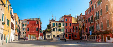 Little square and old houses in Venice, Italy