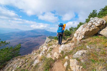 The tourist in mountain