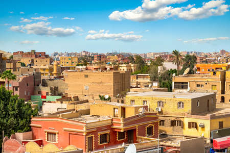 Giza residential neighbourhood from plateau at sunny day
