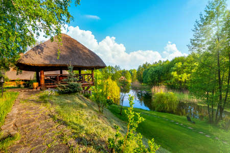 Landscape pond and forest in spring afternoon Banco de Imagens