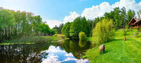 Pond and field Banco de Imagens