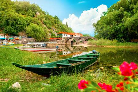 Rijeka Crnojevica and boat Banco de Imagens