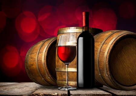 Wine and barrels Banco de Imagens