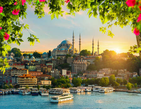 Sunset in Istanbul city with the view on Golden horn bay