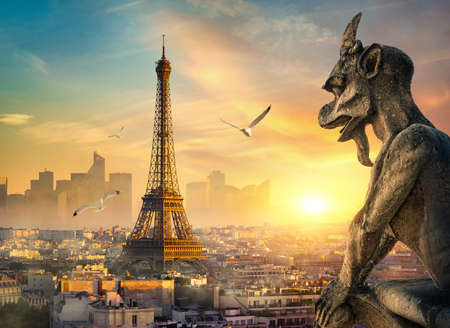 Stone Chimera and Eiffel Tower