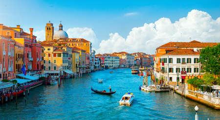 Gondolas and Grand Canal in Venice, Italy Banco de Imagens