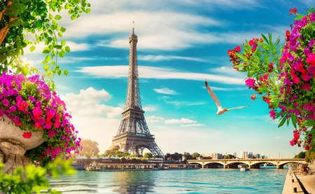 Seine in Paris with Eiffel Tower in sunrise time Stock Photo