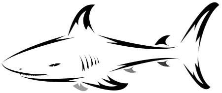 aletas: s�mbolo de tibur�n aislado en blanco para el dise�o - tambi�n como emblema o logotipo