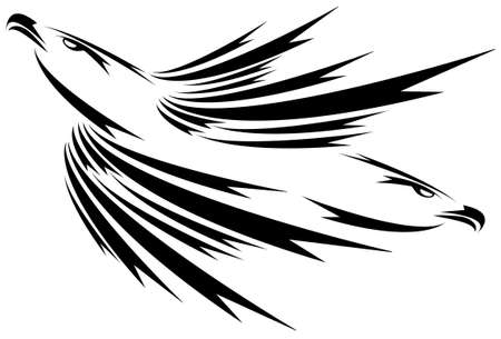 Eagle symbol isolated on white for design - also as emblem or logo Vector