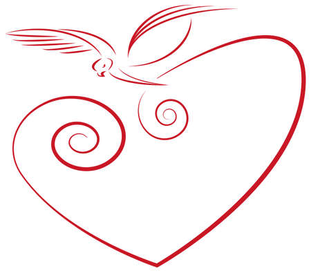 Love symbol- heart and dove Stock Vector - 10900712
