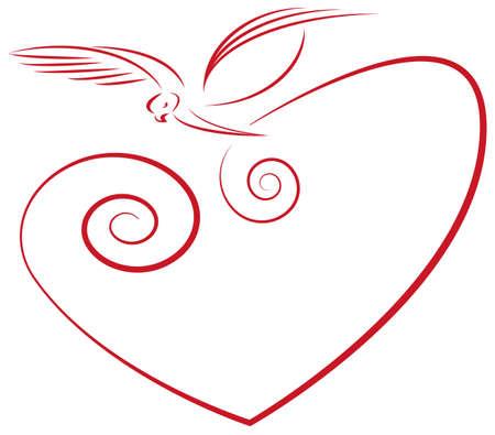 Love symbol- heart and dove Vector