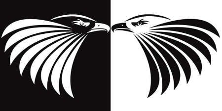 prey: Eagle symbol isolated on black & white for design - also as emblem or logo Illustration