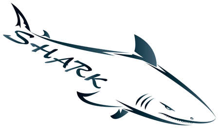 Shark symbol isolated on white for design - also as emblem or logo Vector