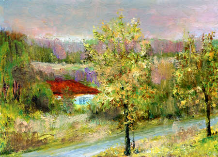 Solar day, house on a coast of the river  Painting  A canvas, oil  My own artwork Stock Photo - 18224957