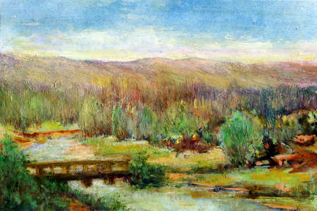 watercolour painting: Original oil painting of forest landscape, riiver and bridge Modern Impressionism  My own artwork  Stock Photo