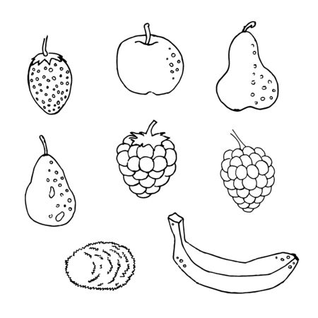 Black and white set of hand drawn tropical citrus fruit Ink sketch style. Good idea for templates menu, recipes. Greeting cards. Vector illustration. Drawn pear, kiwi, banana, raspberry