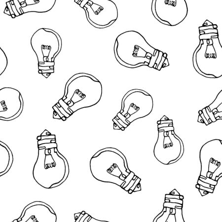 Seamless pattern of light bulbs. Contour drawing with one line. Black outline, white background. New idea. Design of paper, covers for notebooks Reklamní fotografie