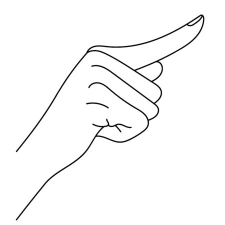 Hand with index finger. Line art drawing hand with forefinger pressing imaginable button, sketch hand, the Index Finger, pointing finger