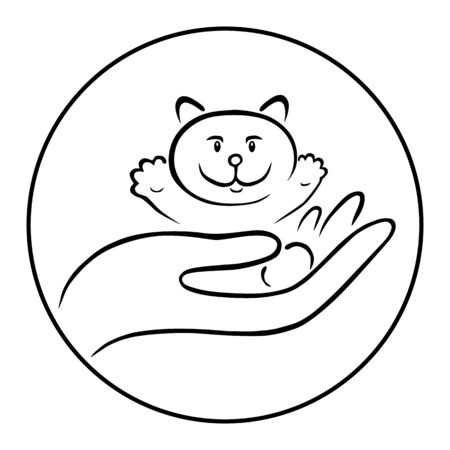 Funny kitten sitting on a man s hand. Black lines on white background. Pet and embrace symbol or icon. Cat care. veterinary clinic. Stamp print for pets with a cat. Illustration