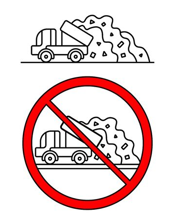 The truck is dumping a huge pile of garbage. Prohibition of garbage collection in the wrong place. Environmental protection. Problem of ecology. Black and white vector drawing. Ecological situation
