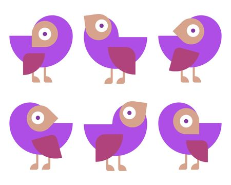 Set of cute birds hand drawn vector happy drawing decoration. Six of cute cartoon pigeons, for print, game, web. Character illustration. Flat colorful vector illustration. Cartoon bird for web design