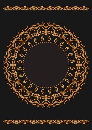 Arabic geometric, floral round ornament, pattern of gold lines. Mandala. Decorative gold pattern, oriental motif. Design element. Ethnic oriental theme. Set of ornate frames for decoration postcards