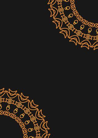 Arabic geometric, floral round ornament, pattern of gold lines. Mandala. Decorative gold pattern, oriental motif. Design element. Ethnic oriental theme. Set of ornate frames for decoration postcards.