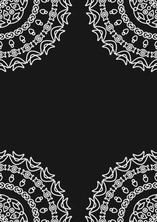 Snowflake pattern. Decoration of New year, Christmas cards. Arabic geometric, floral round ornament, pattern of white lines. Decorative white pattern. Design element. Ethnic oriental theme Stock Illustratie
