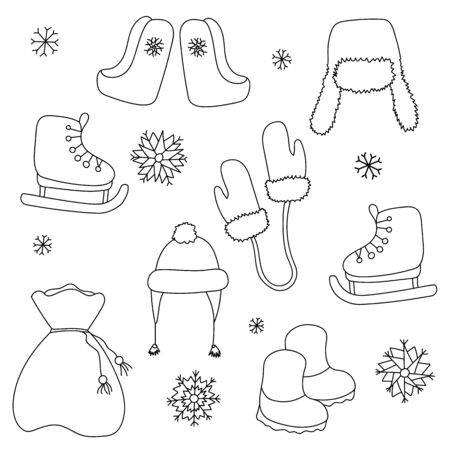 Winter season themed doodle set. Mittens, skates, boots, bagful, hat, snowflakes. Winter elements for greeting cards, posters, stickers and seasonal design. Winter theme. New Year. Christmas
