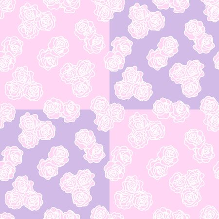Seamless pattern with delicate pink flowers on purple and pink background. Cute pattern for wedding cards decor, Wallpaper, website design. Retro style background. Decorative floral pattern