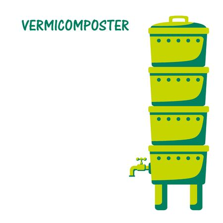 Vermicomposter- home for worms that process organic waste from the kitchen, a selective approach. The ecological approach. Zero waste. Composting organic waste. Recycling garbage. Vector illustration