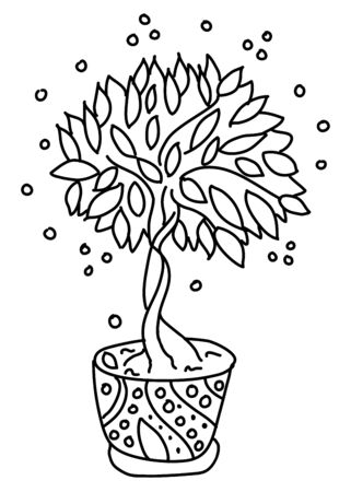 Potted flowers are drawn in doodle style. Flowers in pots painted black line on a white background. Decorative potted house plant sketch illustration for print, web, mobile, postcards, site, cover art Illustration