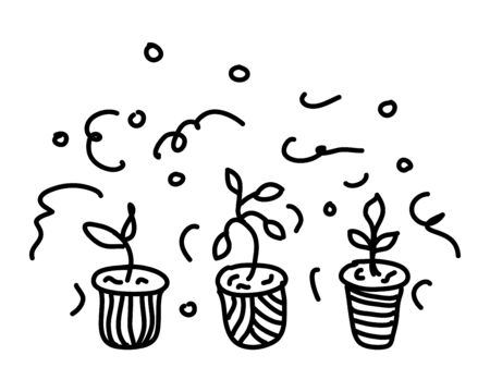 Potted flowers are drawn in doodle style. Flowers in pots painted black line on a white background. Decorative potted house plant sketch illustration for print, web, mobile, postcards, cover art