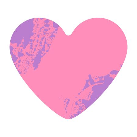 Grunge heart on white background. Pink distressed textured hand made heart made of paint spray with drops, dribble, sprinkle. Symbol of love. Blood splatter Purple spots. Archivio Fotografico - 132123289