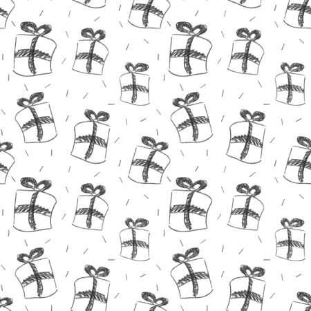 Seamless pattern from gift boxes with bows drawn in pencil. Topics: New Year, Christmas, Valentines Day, Birthday, Anniversary, Wedding. Hand-drawn in trendy Scandinavian style. Wrapping paper Standard-Bild - 133450680