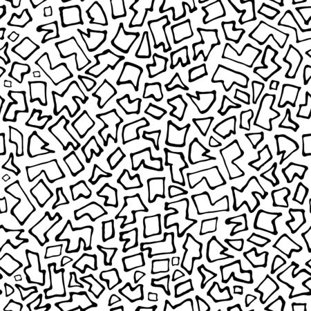 Abstract white background with chaotic uneven black parts. Seamless mosaic in Doodle style. Geometric irregular pattern pieces fill the entire space. Printing on fabric, background website, cover art Standard-Bild - 133450683