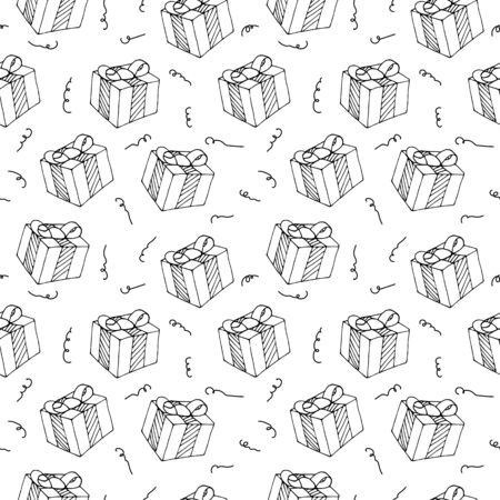 Vector seamless pattern from gift boxes with bows drawn in doodle style. Topics New Year, Christmas, Valentine s Day, Birthday, Anniversary, Wedding. Wrapping paper. Ornament for a greeting card Standard-Bild - 133450691