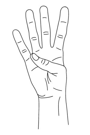 Gesture in the form of four fingers, index, middle, nameless, little finger, raised upward. The hand shows the number four on the fingers. Isolated black and white pattern. Illustration for the site