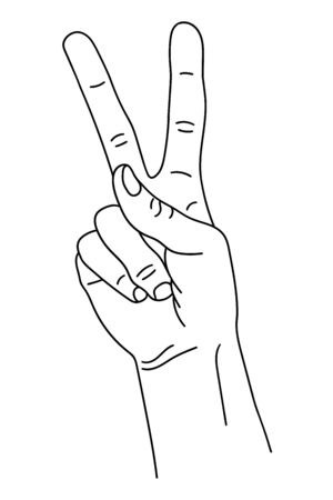 Gesture in the form of two fingers, index and middle, raised upward. The hand shows the number two on the fingers. Isolated black and white pattern. Website design, illustration children s benefits. Ilustração