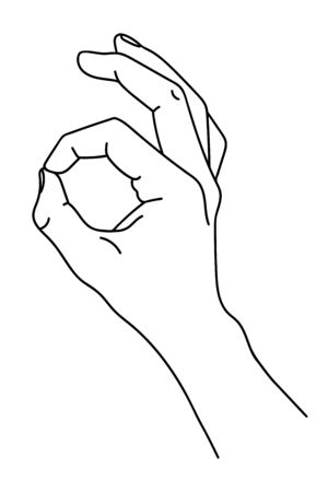Gesture - index finger and thumb show zero, everything is good, OK. Counting on the fingers. Black and white illustration of a hand. Line art. Logo graphic art design isolated on white background
