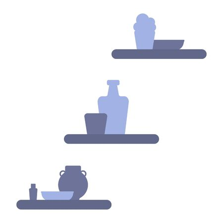 Blue silhouettes of flower pots, vases, plates, bottles. Decorative shelves to fill the background of your site. Isolated elements on a white background. Simple flat design