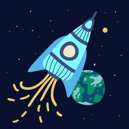 Blue rocket flies through space. A pillar of fire emanates from her. In the background is our planet Earth. Around bright stars are shining, you can see even the big dipper. Sketchy stars, planets. Ilustração