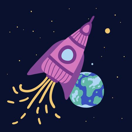 Pink rocket flies through space. A pillar of fire emanates from her. In the background is our planet Earth. Around bright stars are shining, you can see even the big dipper. Sketchy stars, planets.