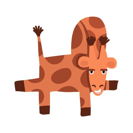 Funny giraffe dancing and smiling. Its skin is covered with brown spots, its tail is raised and protruding, and its paws look back and forth. Illustration for children's books, website design, cards. 向量圖像